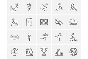 Winter sport sketch icon set.