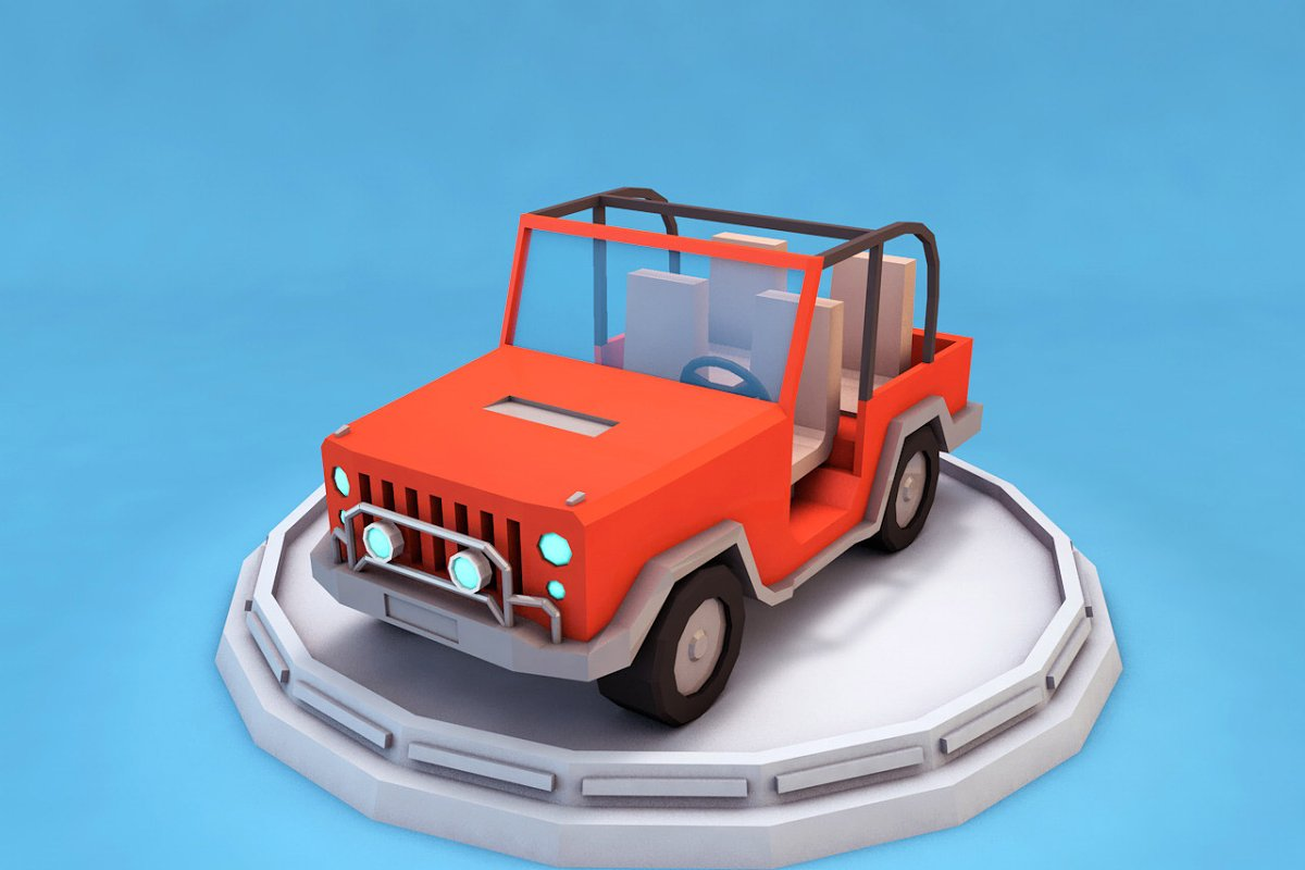 Cartoon Jeep Low Poly 3D model ~ Vehicle Models ~ Creative