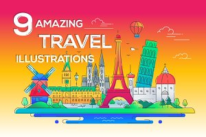 A Bundle of 9 Travel Illustrations