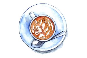 Watercolor cup of coffee drink