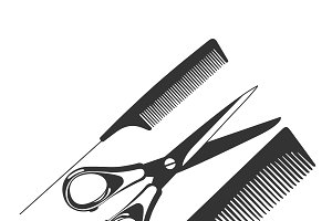 comb, scissors, barber tools, icon