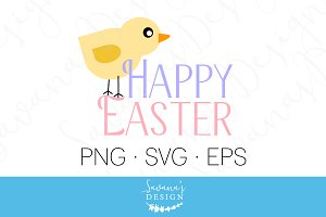 Happy Easter Clipart and Cut File