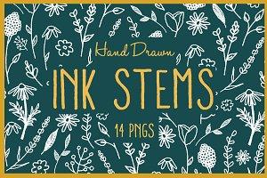 White Minimalist Ink Stems