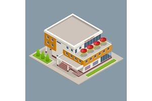 Isometric Large supermarket shopping 3d commercial center with shops and a cafe.