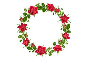 Decorative wreath with red roses. Beautiful realistic flowers, buds and leaves