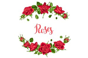 Decorative elements with red roses. Beautiful realistic flowers, buds and leaves