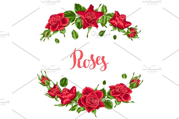Decorative Elements With Red Roses Beautiful Realistic Flowers Buds And Leaves