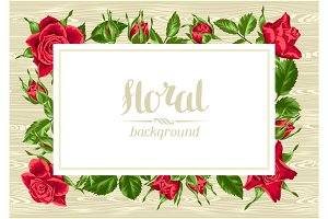 Invitation card with red roses. Beautiful realistic flowers, buds and leaves