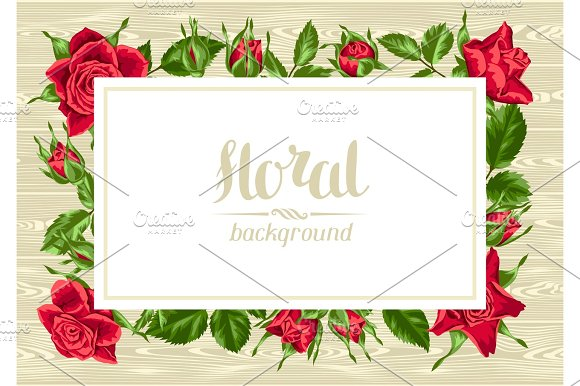 Invitation Card With Red Roses Beautiful Realistic Flowers Buds And Leaves