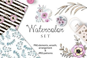 Watercolor inked floral set