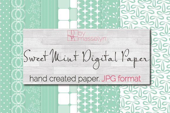 Sweet Mint Digital Paper Pack JPG