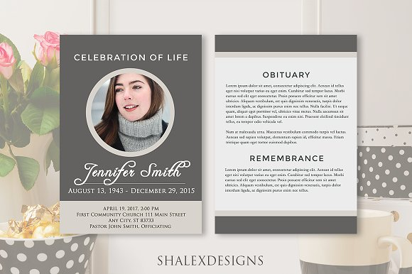 Funeral program template gray brochure templates for Funeral brochure template