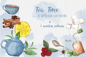 Watercolor Tea Time set