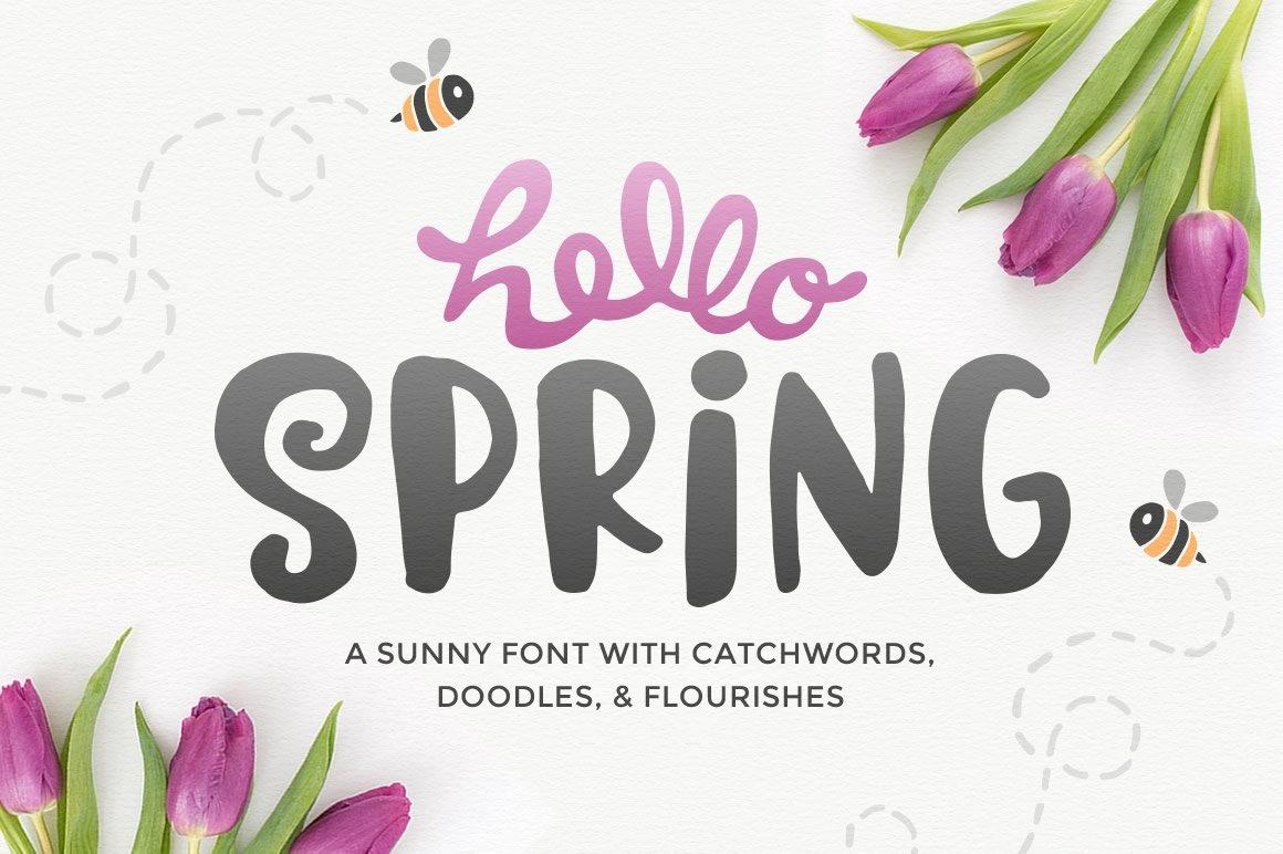 Hello Spring Font Display Fonts Creative Market Planting Roses Diagram Click For Printer Friendly Download