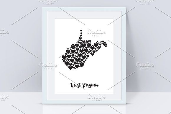 West Virginia Map With Hearts