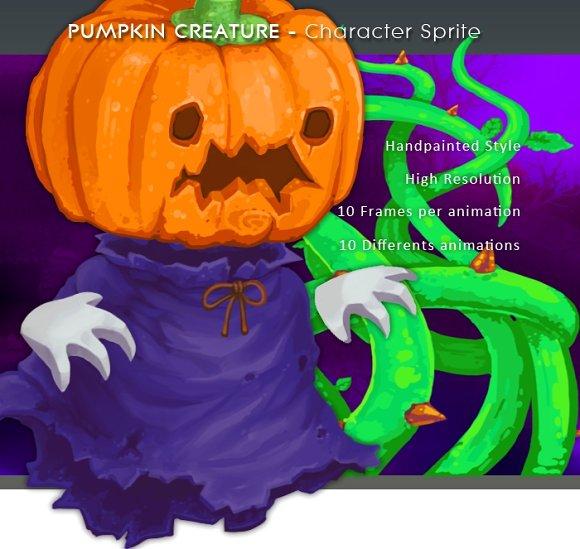Pumpkin Creature Character Sprite