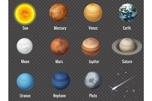 Solar system planets on transparent background, isolated vector illustration.