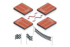 Isometric Start and Finish, Checkered flags, vector illustration