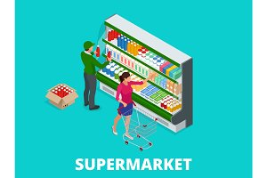 Woman shopping milk in grocery store. Isometric Supermarket thermocool refrigerator shelves food collection with milk flat vector illustration