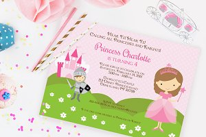 Princess and Knight invitation