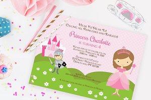 Princess and Knight invitation