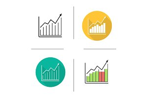Market growth chart. 4 icons. Vector