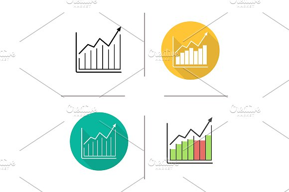Market Growth Chart 4 Icons Vector