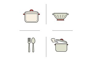 Kitchen items. 4 icons. Vector