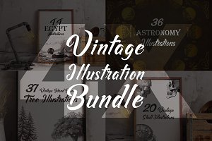 4X Vintage Illustration Bundle