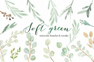 Soft green wreaths branches clipart