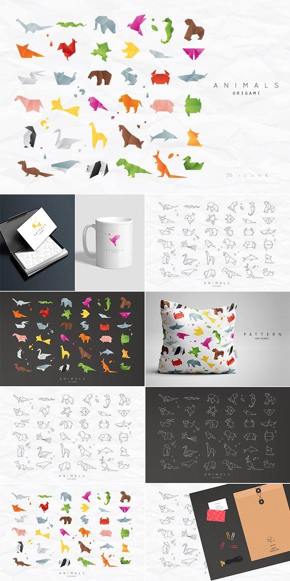 Animals Origami Icons Creative Market