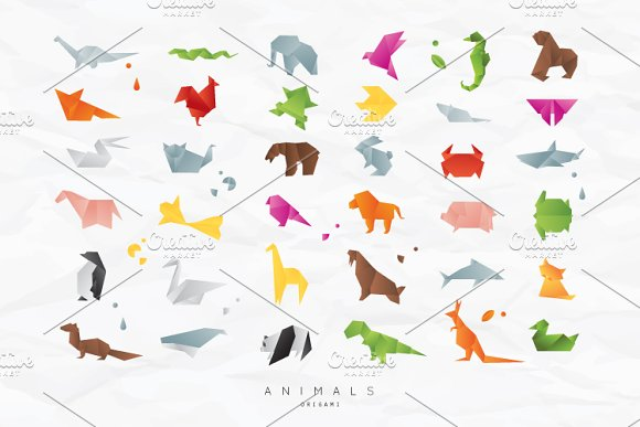 Animals Origami Icons Creative Market
