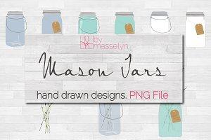 Mason Jars Doodle Pack - PNG