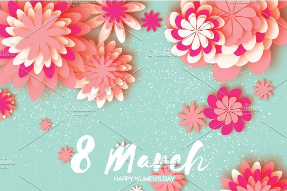 Pink Colorful Paper Cut Flower 8 March Origami Women's Day Space For Text