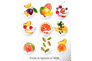 Сollection of fruit in a milk splash