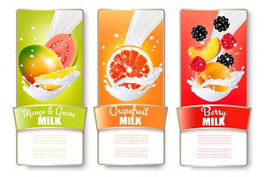 Labels of of fruit in milk splashes