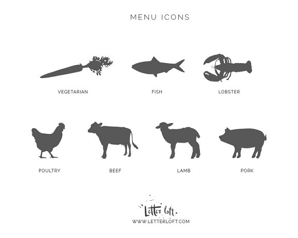 Meal Choice Icons for Place Cards   in Graphics - product preview 1