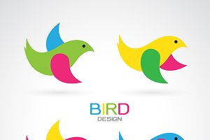 Set of vector bird design icons.