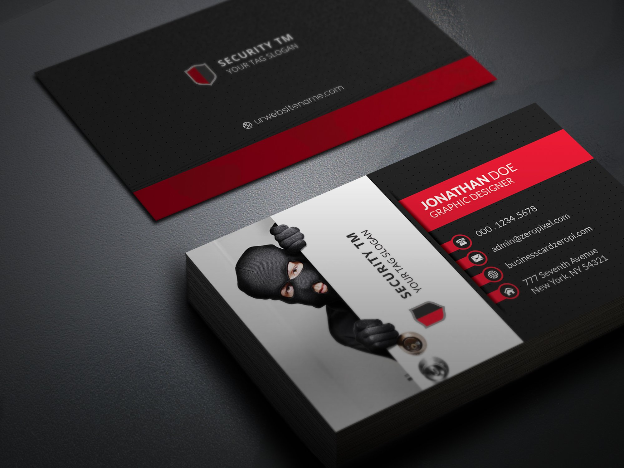 Security team business card business card templates for Cctv business card