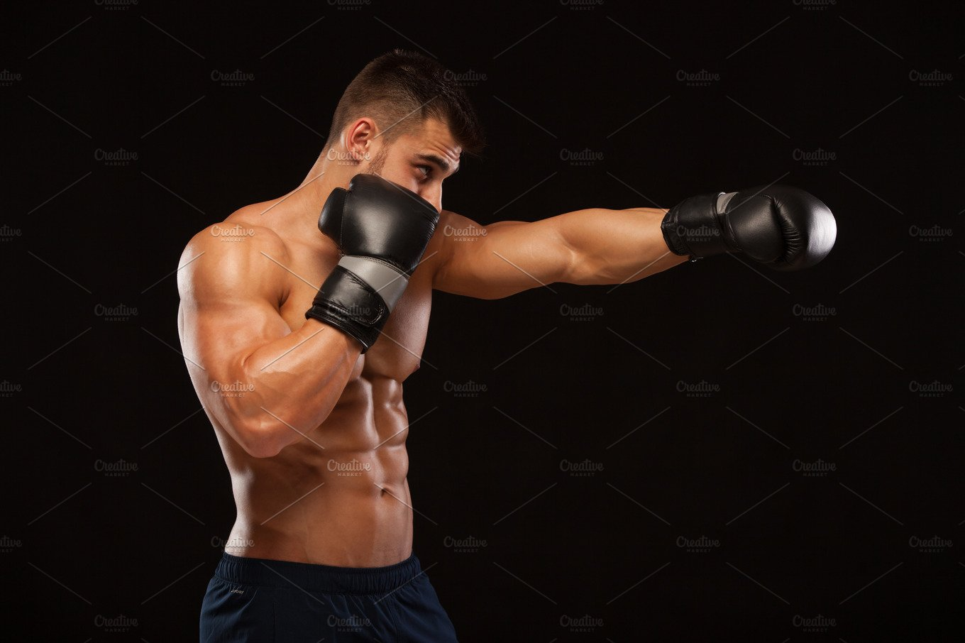 Muscular And Torso Of Young Man Having Perfect Abs. Male