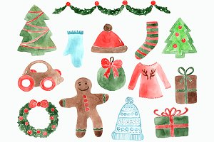 Vintage Watercolor Christmas Clipart