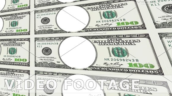 100 dollar bills with no face in 3d perspective in Graphics