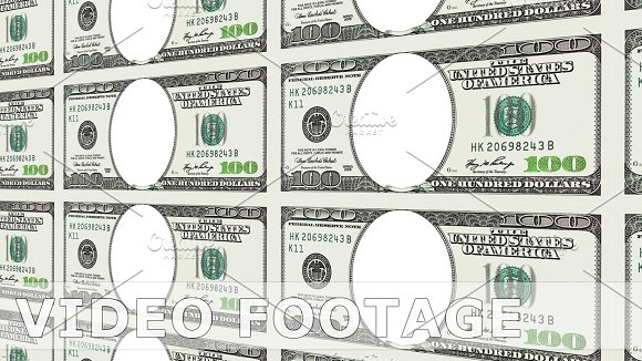 100 Dollar Bills With No Face In 3D Perspective