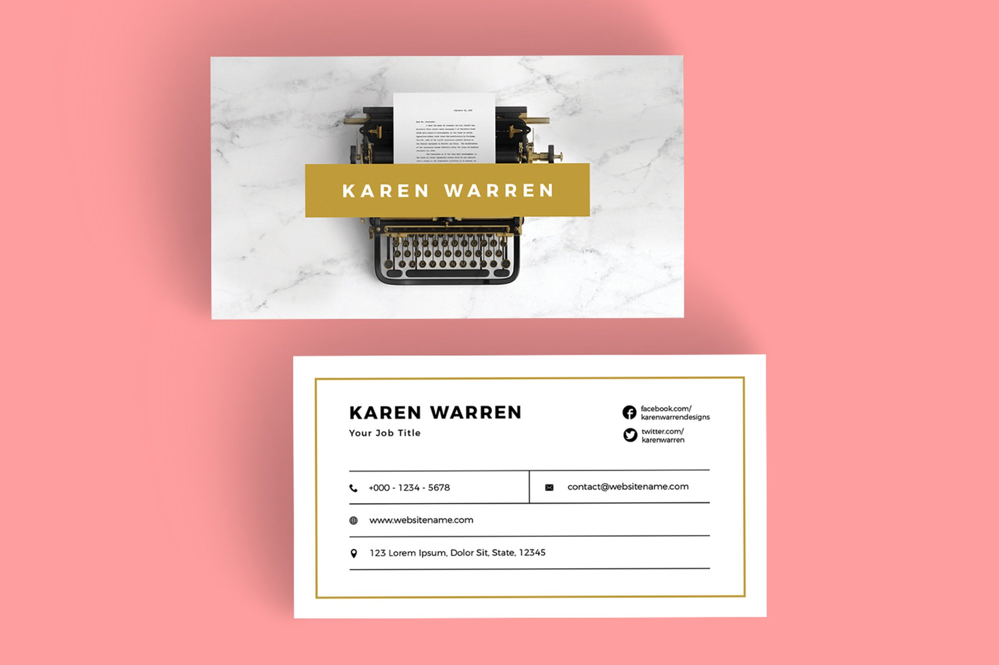 Typewriter marble business card business card templates creative typewriter marble business card business card templates creative market reheart Gallery