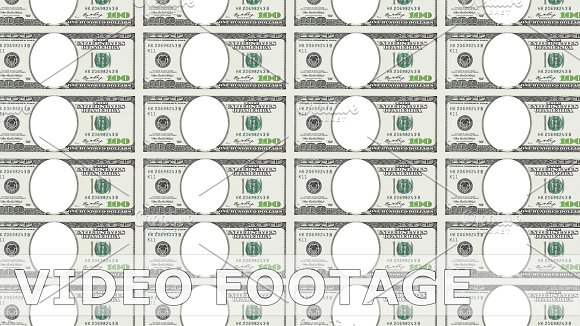 Sheet Of 100 Dollar Bill With No Face Looped