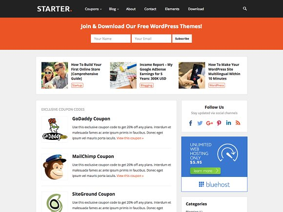 Starter - WP Blog Coupon Theme - Blog