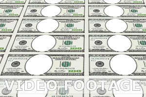100 dollar bills with no face in 3d. Looped.