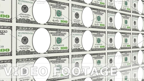 100 Dollar Bills With No Face In 3D Looped