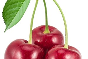 red cherries on the white