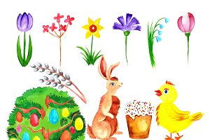 Easter set of watercolor and vector